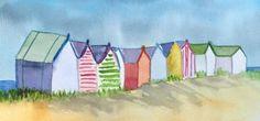 Beach huts - casetas de playa kids wall decor de ClassicWatercolours en Etsy Watercolours, Watercolour Painting, Arte Latina, Drawing Sketches, Drawings, City Folk, Kids Wall Decor, Am Meer, Mosaic Designs