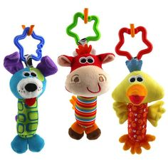 2016 NEW arriving 14cm Dog Cattle Bird Baby Toys Rattles mobile Cartoon Animal Plush Toys Hanging Educational Infant and Kid toy