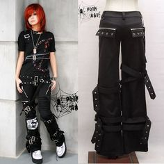 Unisex Black Alternative Goth Punk Emo Fashion Pants for Men Women SKU-11404210