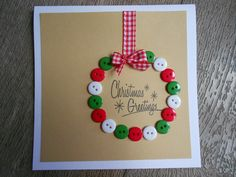 This holiday season hand out these DIY Christmas Cards to your loved ones and tell them how much you care. These Handmade Christmas cards are easy & cheap. Christmas Buttons, Christmas Card Crafts, Homemade Christmas Cards, Christmas Cards To Make, Christmas Greetings, Kids Christmas, Handmade Christmas, Holiday Crafts, Christmas Decorations