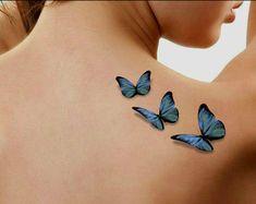 Tätowierung 3D Schmetterlinge Fake Tattoo von UnrealInkShop auf Etsy