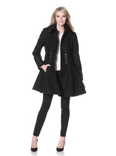Betsey Johnson Women's Jacket with Faux Trim (Black) Weighty wool blend fit-and-flare coat with hidden button closure, faux fur collar, front belt detail with buttons #Jacket #Faux fur #Belt