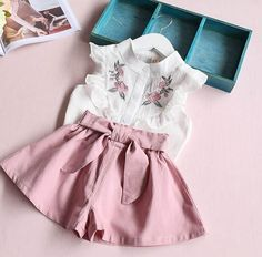 Girls Kayla two piece dusty pink and floral skirt set - PRE ORDER