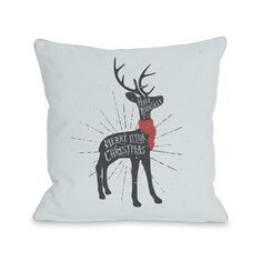 One Bella Casa Merry Little Christmas Deer - 16 or 18 Inch Throw Pillow by OBC