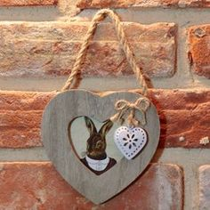 Country Wooden Hanging Heart Photo Frame