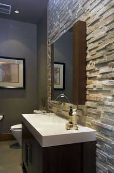 Beauty Stone Backsplash Bathroom Design Ideas On A Budget - Page 7 of 10 Bathroom Accent Wall, Master Bathroom, French Bathroom, Bathroom Sinks, Accent Walls, Small Bathroom, Bathroom Ideas, Bathrooms, Stone Backsplash