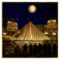 """""""""""The Louvre At Night"""" ~ what a sight!"""" by victorianheaven ❤ liked on Polyvore featuring art"""