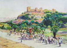 Romería de San Mateo en Alcalá de Guadaíra - camino de La Retama y Castillo al fondo