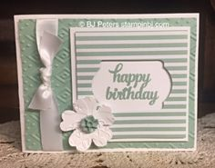 BJ's card: Tin of Cards set, In Colors Envelope Paper & Blossom Accents, Boho Chic & Lovely Lace embossing folders, Note Tag punch, Pansy Punch, & more - all from Stampin' Up!