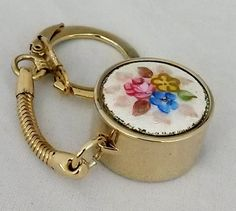 Vtg 1950s Enamel Guilloche Nickel Coin Holder Gold Tone Key Chain #NotSigned