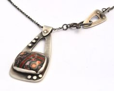Sterling Silver and Jasper Necklace with Decorative Rivets