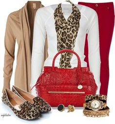 Beige sweater, red jeans, white shirt and leopard scarf. Far fewer accessories.