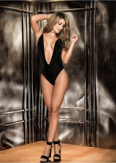 Extreme Low Cut Velvet And Lace Teddy By Mapale 8259 19e6952eb
