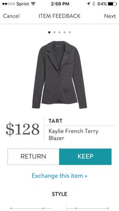 Kaylie French Terry Blazer by Tart Collections in Dark Gray. Love the french terry blalzers by Tart. This is very stretchy and comfortable. Like the slightly longer length. Very versatile work piece. Received in Fix #35. KEPT. Price $128, with keep all discount $96.