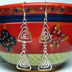 Triangular Spiral .925 Sterling Silver Dangle Links and Ear Wires | KatsAllThat - Jewelry on ArtFire