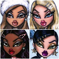 Hayden Williams - from the 💋❄️⭐️🎄 Hayden Williams, Black Girl Cartoon, Black Girl Art, Art Girl, Cartoon Drawings, Cute Drawings, Black Bratz Doll, Brat Doll, Bratz Girls