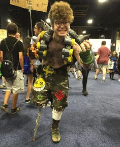 Charlie nailed Junkrat. #bostoncomiccon2016 #cosplay #overwatch #bostoncomiccon #awesome
