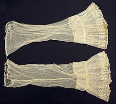 Undersleeves Date: ca. 1860 Culture: American or European Medium: [no medium available] Dimensions: [no dimensions available] Credit Line: Gift of Miss Diana Schwartz, 1941 Accession Number: C.I.41.34.3a, b