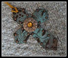 Saddle cross, copper sunflower, copper spots