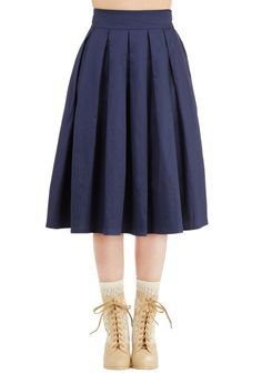Pleat the Way Skirt. Spark a swoon-worthy trend by slipping into this navy skirt from Fever London! #blue #modcloth