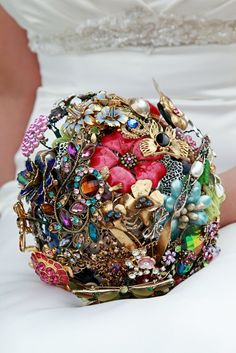 Brooch bouquet. Love this as a twist on an original. Besides, it'll actually last! Have everyone bring a brooch to the bridal shower. Meaningful and beautiful.