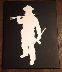 Firefighter Silhouette canvas  on Etsy, $19.99