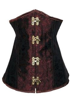 Brown Floral Underbust Steampunk Corset w/ Clasps Lace Up Costume Cosplay New US