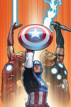 The Avengers Trinity - Iron Man, Captain America and Thor (Marvel Comics) Marvel Avengers, Marvel Comics, Marvel Heroes, Comic Book Characters, Marvel Characters, Comic Books, Marvel Universe, Die Rächer, Gfx Design