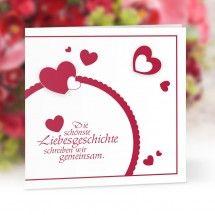 Hochzeitseinladung Lovestory rot