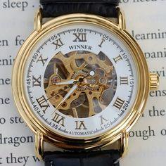 Simple Golden Mechanical Wind-Up Wrist Watch    $49.99