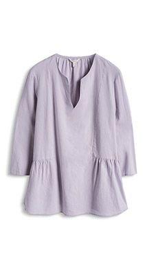 Baumwoll Bluse mit Schößchen-Saum
