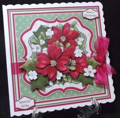 PINK POINSETTIA BOUQUET Christmas 7 5 Decoupage Mini Kit on Craftsuprint designed by Janet Briggs - made by Suzi Cooper