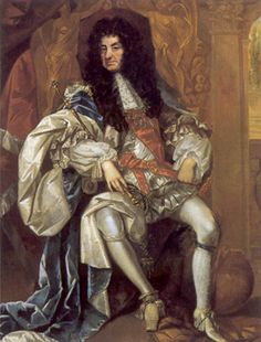 """England's Charles II at age 55 - they didn't call him """"The Merry Monarch"""" for nothing...most of England's bluebloods are related, one way or another."""