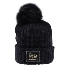 abaa3fa829027 Beanie - Black Gold Foil Cuffed Pom Beanie (Black Pom) Love My Melon