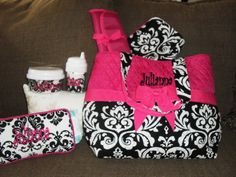 Black & White Demask with Hot Pink Diaper Bag by jojosblessings, $99.00- LOVE for a little baby girl!! <3