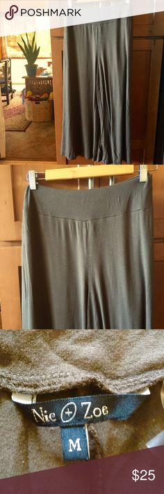 Anthropologie wide leg pants Anthropologie wide leg pants by Nic & Zoe In khaki green. Worn in good condition. Anthropologie Pants