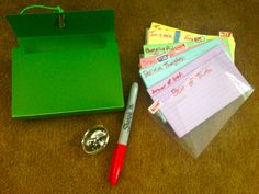 """traumatherapist: """" Pocket-sized Grounding Kit What do I need? • An index card-sized file folder • Index cards • Pen • Stone • rubber band • red marker (optional) Where do I start? First, you want to..."""
