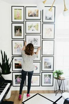 Tour the Cozy, Elegant Home That Is Major Interior Beautiful picture wall. Maybe with smaller pictures in our living room possible Diy Wall Decor, Diy Home Decor, Farmhouse Side Table, Hanging Photos, Living At Home, Living Room, Elegant Homes, Inspired Homes, Photo Displays