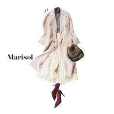 冬の街に映える淡ピンクの甘めコートには揺れるワイドパンツで上品に【2018/1/10コーデ】Marisol ONLINE 女っぷり上々!40代をもっとキレイに。