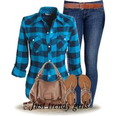 blue checked shirt with denim Fashion Plaid Shirts for woman http://www.justtrendygirls.com/fashion-plaid-shirts-for-woman/