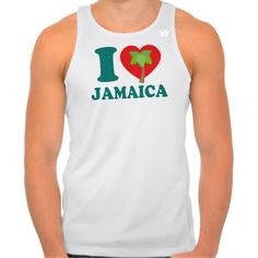 I Love Jamaica w/ Palm Tree Workout Tank Top. #Caribbean #Jamaica #ILoveJamaica #Fitness #Athlete #Male #CaribLoveDesigns #Zazzle