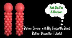 Balloon Column with Big Topper No Stand - Balloon Decoration Idea/Tutorial by AMFAB Wedding Balloon Decorations, Balloon Centerpieces, Wedding Balloons, Diy Party Decorations, Big Balloons, Balloon Arch, Diy Balloon Weight, Ballon Column, Emoji Christmas