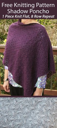 Free Knitting Pattern Shadow Poncho 1 Piece 8 Row Repeat - Poncho knit flat in one piece using a 8 row repeat all-over cable texture. Sport weight yarn. Designed by Kathy Yurman. Poncho Knitting Patterns, Knitted Poncho, Free Knitting, Aran Weight Yarn, Sport Weight Yarn, Moss Stitch, Seed Stitch, Quick Knits, Garter Stitch