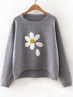 Grey Flower Print Raglan Sleeve Dip Hem Sweater Shop Grey Flower Print Raglan Sleeve Dip Hem Sweater at victoriaswing, personal womens clothing online store! high quality, cheap and big discount, latest fashional style! Raglan Shirts, Grey Shirt, Grey Sweater, Floral Sweater, Loose Sweater, Jumper Shirt, Graphic Sweatshirt, Grey Hoodie, Cropped Sweater