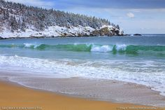 Sand Beach during winter in Acadia National Park