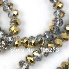 New Arriver Crystal Šperky Loose Korálky 16 '' / String 8mm Chinese Crystal Sklenené korálky plôšky Rondelle Smoky Metallic Gold Color (Čína (pevninská časť))
