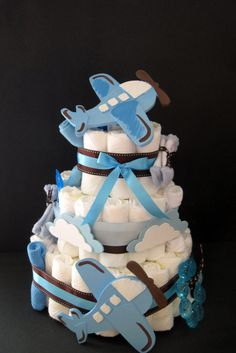 adorable diaper cake with airplane design