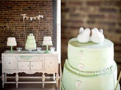 """Southern Mint Wedding. I love the look of the dessert table on this one -- no huge cake, just one medium sized in the center frosted in your wedding color flanked by 2 smaller ones on each side in white. Love the fun buttons on the cake! Also this advice from the bride in this wedding post, """"My advice to future brides would be to keep it simple and keep it fun. When it stops being fun, it's not simple enough."""" @Shannon Reynolds  <3"""