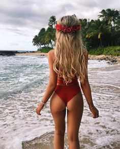 Red bikini is perfect for baywatch look :)