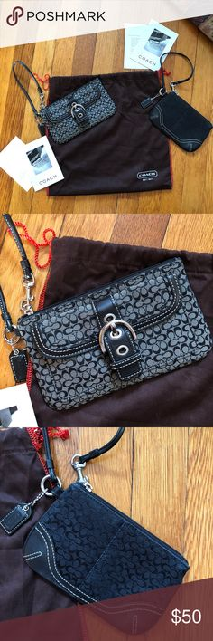 """Coach Wristlet Duo Coach Wristlet Duo! Both Wristlets!  •Authentic •Great Condition! Like new! •Gray Wristlet 7 1/2"""" wide 4 1/2"""" high •Black Wristlet 6 1/2"""" wise 4 1/4"""" high •Comes with care instructions and 1 duster Coach Bags Clutches & Wristlets"""